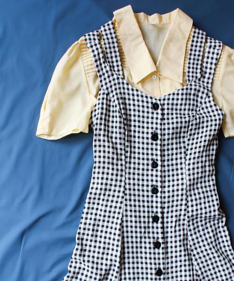 【Seek an nur】Gingham Check Jumper Skirt