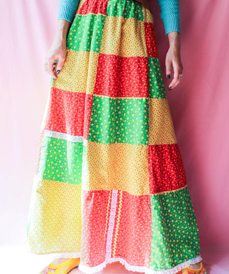 【tiny yearn】1970's Patchwork Long Skirt