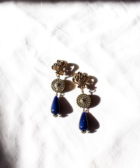 Vintage Gold×Blue Stone Earring