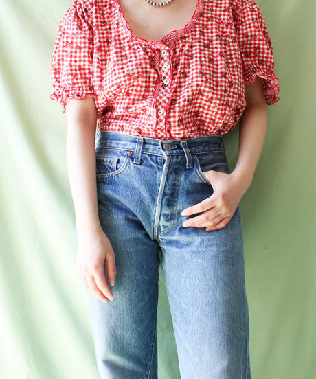 【tiny yearn】Euro Gingham check×Flower Blouse