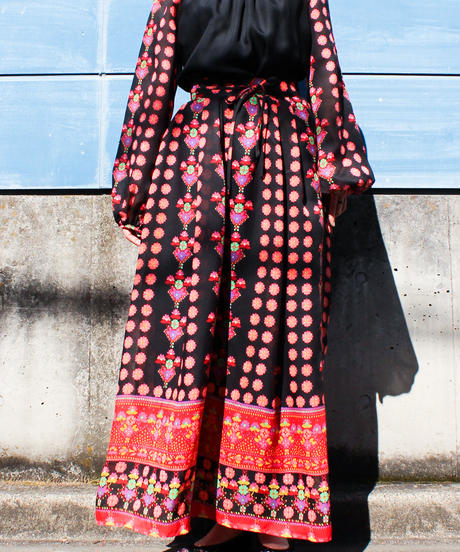 【tiny yearn】1970's Flower Sheer Maxi Dress