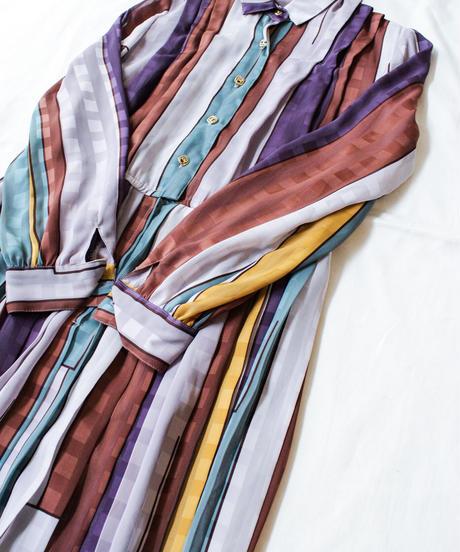 【Seek nur】Mulch Stripe Pleats Shirt Dress