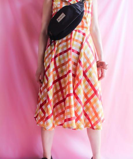 【tiny yearn】Big Check Circular Dress