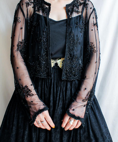 【Seek nur】Beads Work Black Sheer Blouse
