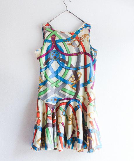 【tiny yearn】1980's Belt Scarf Pattern Dress