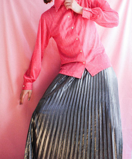【tiny yearn】70's Slash Stripe Sheer Blouse