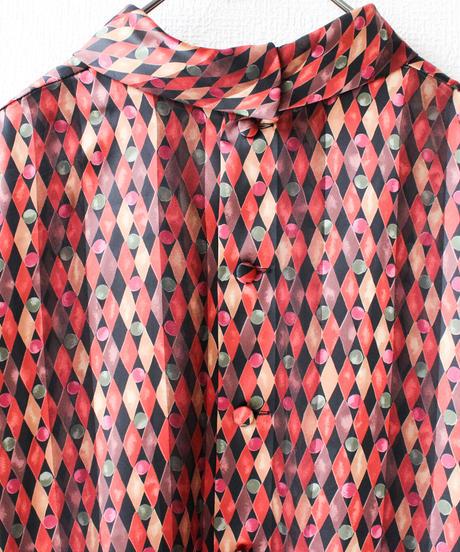 【Seek nur】Diamond pattern Sheer Blouse