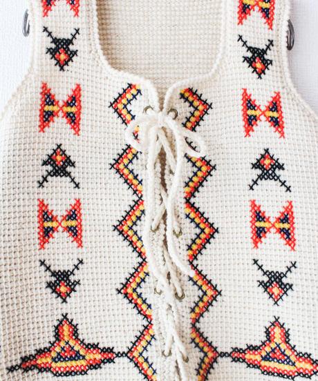 【Seek nur】1970's Laceup Hand Knit Vest