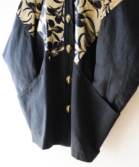 【tiny yearn】Black Denim Metallic Flower Over Jacket