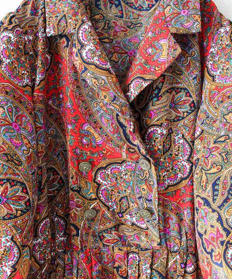 【Seek nur】Oriental Pattern Pleats Dress