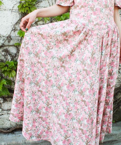 【Seek an nur】Design sleeve Flower Long Dress