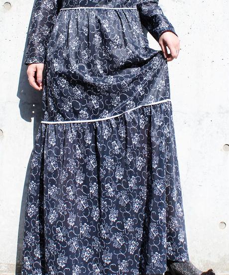 【Seek nur】Euro Flower Sheer Maxi Dress