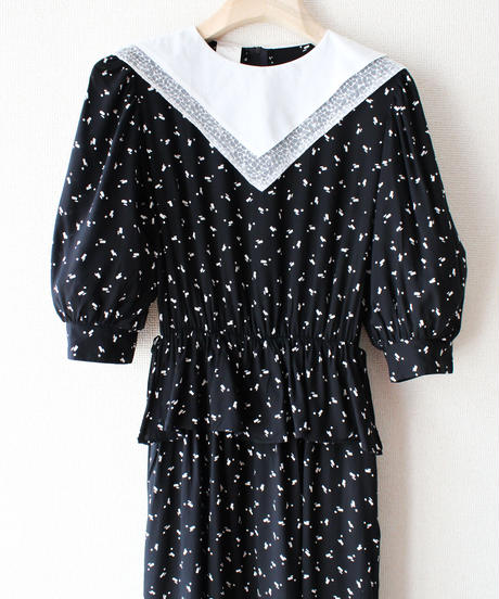 【tiny yearn】Euro Bib Collar Peplum Dress