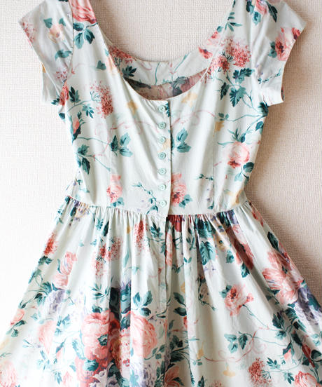 【tiny yearn】Flower Cotton  Flare Dress