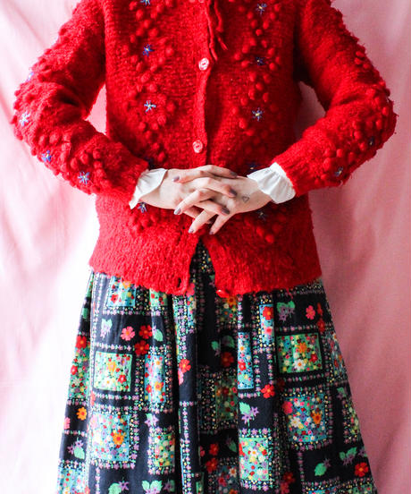 【tiny yearn】Euro Flower Design Tyrol Cardigan