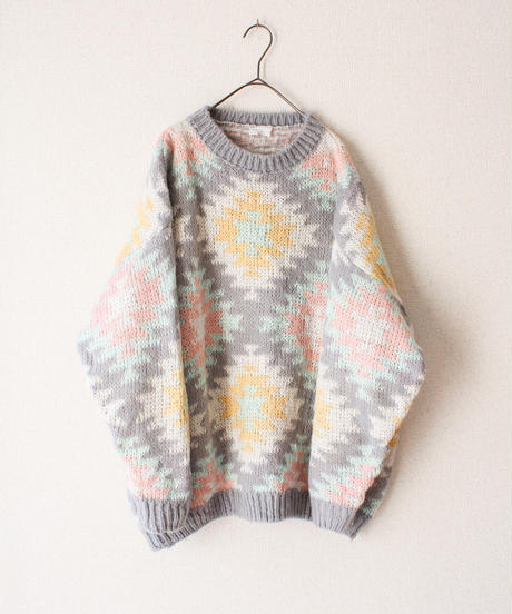 【tiny yearn】Euro Jacquard Knit Over Sweater