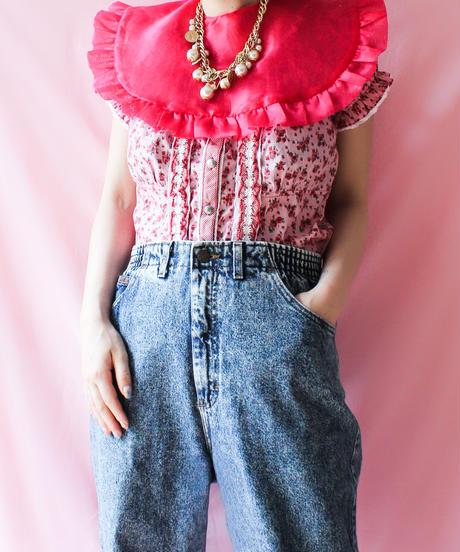 【Original】Organdie attached collar/Pink