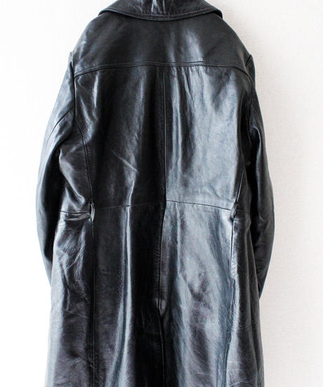 【Seek nur】Black Leather Long Coat
