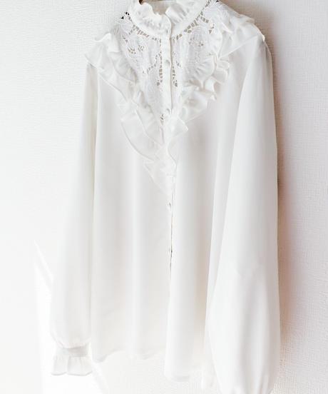 【Seek nur】Frill Lace White Blouse