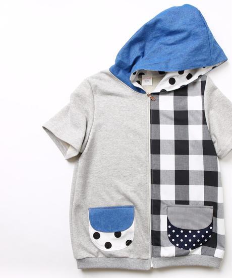 チェックmixフードパーカー♡Short sleeve