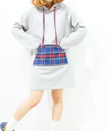 フーディーワンピーグレー杢typeB♡(タータンアオチェック)