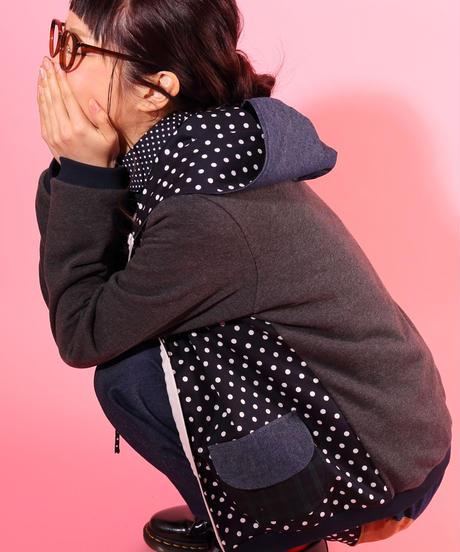 水玉mixフードパーカー♡ newチャコール