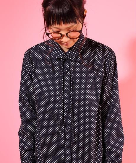 スノウピーのまるえり定番台襟長袖シャツ♡細リボンタイ付き