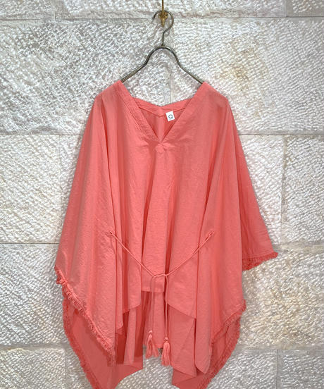 "Cotton fringe poncho ""4color""[203927687]"