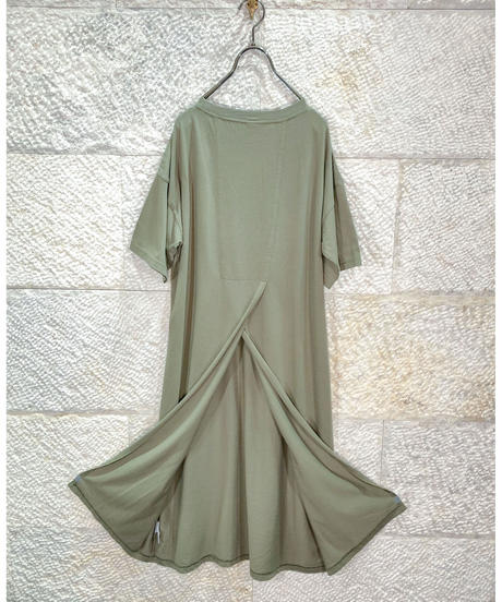 "19/- Recycle jersey back slit dress ""6color"" [203947678]"