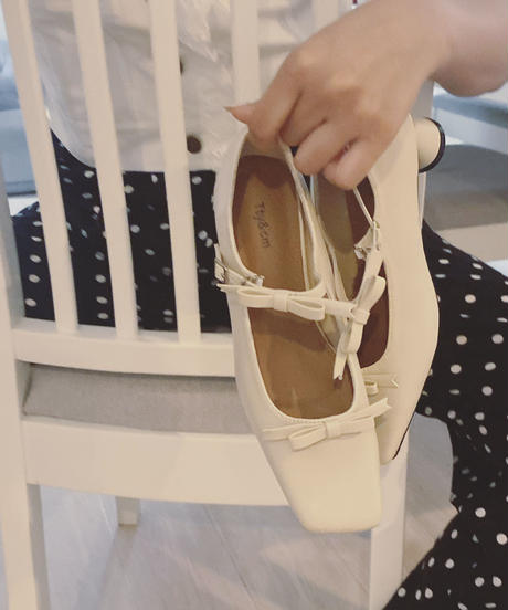 sophie ribbon shoes -white-