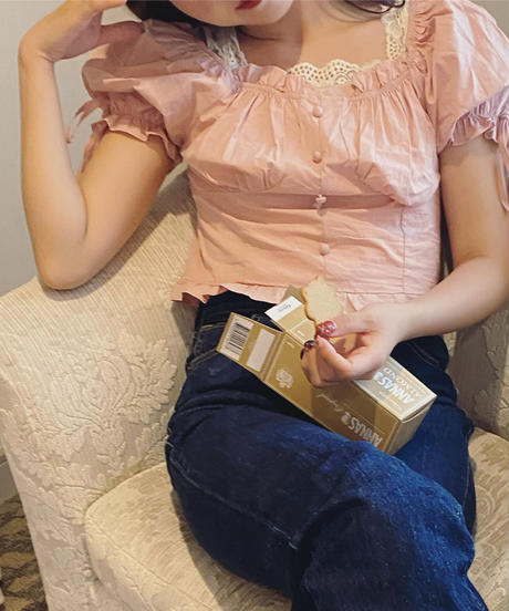 tiny cotton blouse -baby pink-