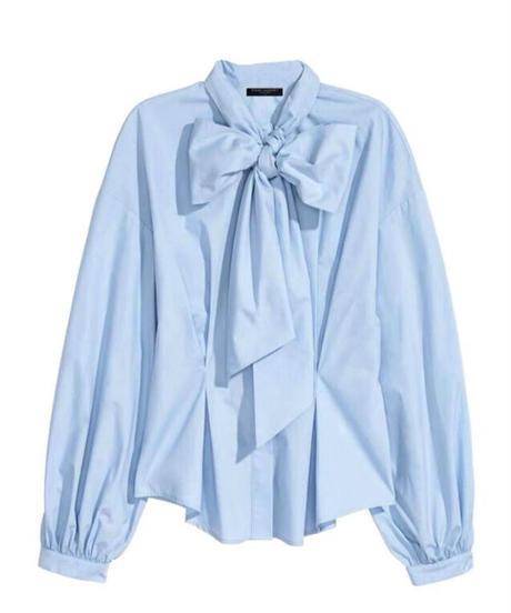 Big Ribbon Blouse / blue