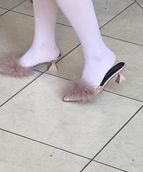 fur mule / pink