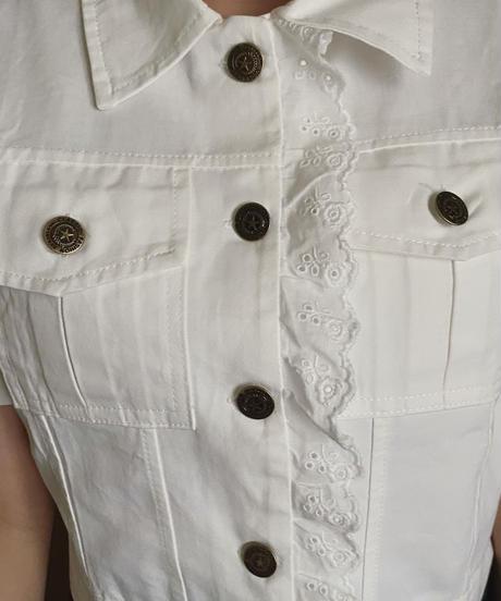 white lace denim tops