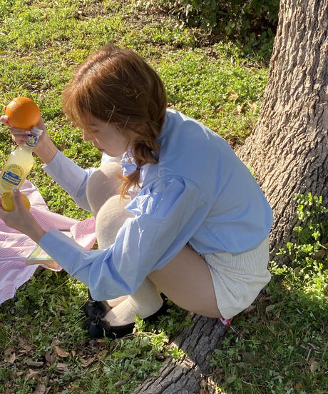 iceblue cotton  frill blouse