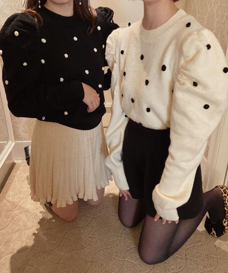 Cutey pompon knit