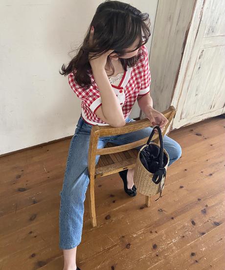 gingham check knit -cherry-