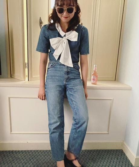 kitty ribbon denim blouse