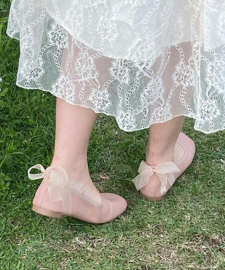fluffy ribbon ballet shoes  -pink-