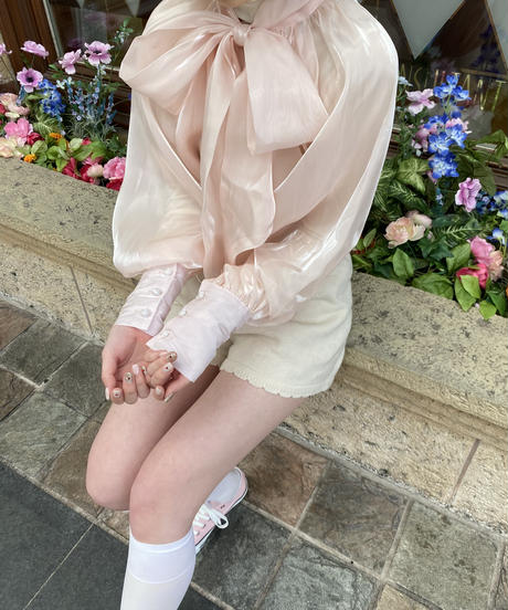 baby pink shell blouse