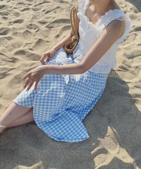 gingham blue apron skirt
