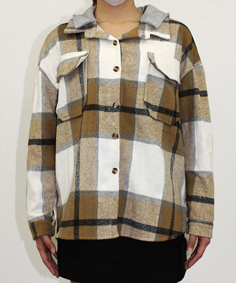 フード付きチェックシャツ:4色展開