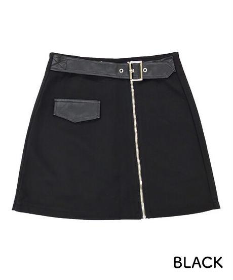スエード調ジップミニスカート:2色展開