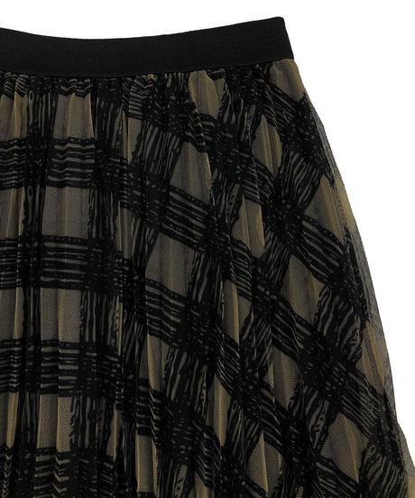 チェック柄チュールスカート:2色展開