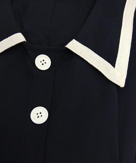 襟付きレトロワンピース:2色展開