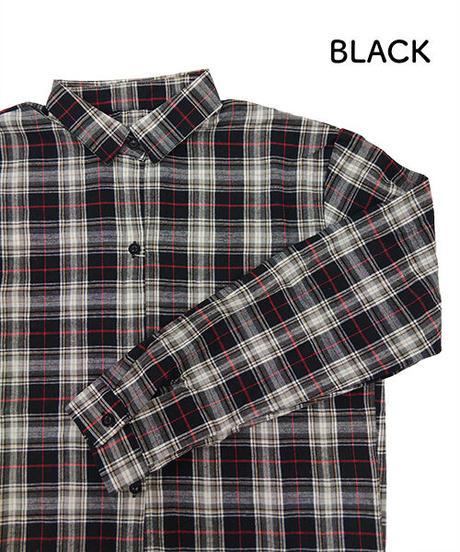 チェック柄ロングシャツ:4色展開