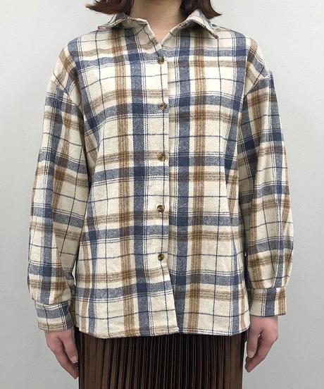 チェックビッグシルエットシャツ:2色展開