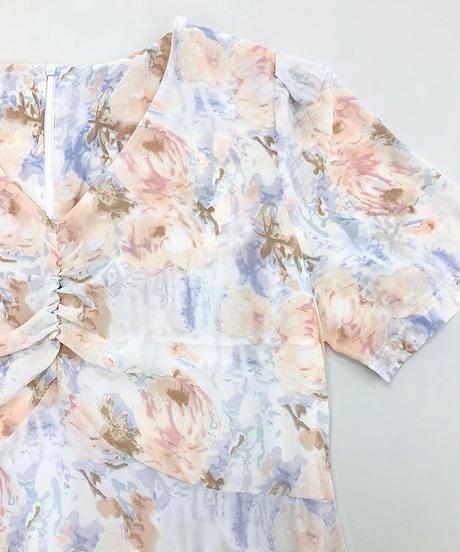 花柄胸ギャザーワンピース:2色展開
