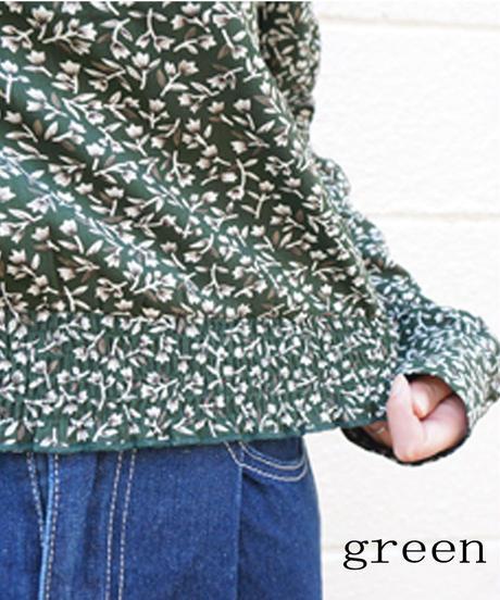小花柄袖ギャザーブラウス:3色展開
