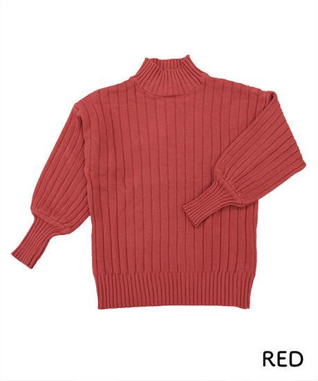 ボリューム袖ワイドリブニット:4色展開